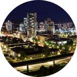 Illuminated cityscape at nighttime in Burnaby, Canada.