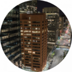Skyscraper buildings in Canada at nighttime.