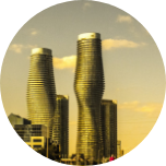 Uniquely shaped skyscraper buildings in Mississauga, Canada.