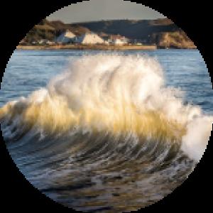 Large crashing wave in Scarborough, Canada.