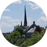 Green trees, with building tops emerging from them and a church spire ascending up into the sky.