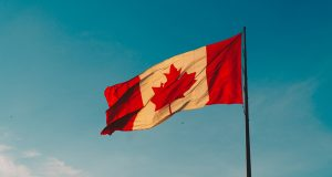 Canadian flag blowing in the breeze on a flagpole, in front of a blue sky.